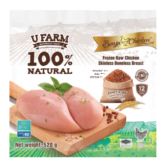 UFarm Benja Frozen Raw Chicken Skinless Boneless Breast 520G