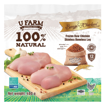 UFarm Benja Frozen Raw Chicken Skinless Boneless Leg 400G